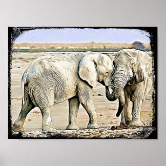Cute Hugging Elephants Canvas Poster