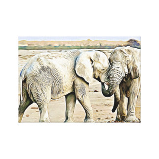 Cute Hugging Elephants Canvas Wall Art