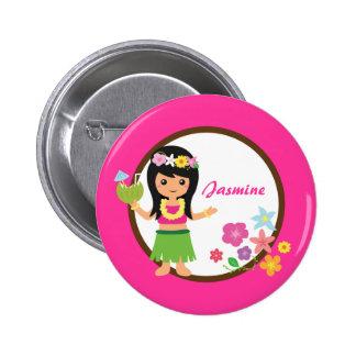 Cute Hula Girl Hawaiian Luau Themed 2 Inch Round Button