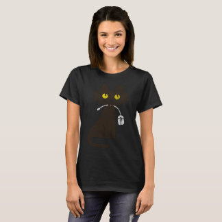 Cute Hungry Cat Eating Mouse! T-Shirt