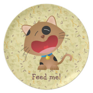 Cute Hungry Kitten Feed Me Plate