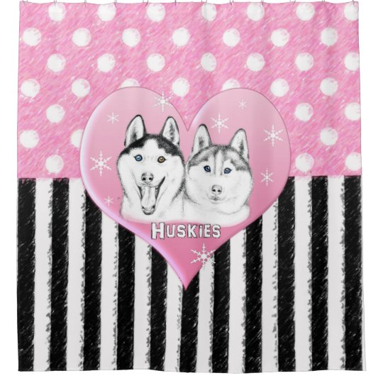 Cute Huskies pink pattern