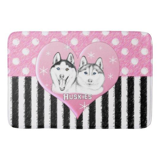 Cute Huskies pink pattern Bath Mat