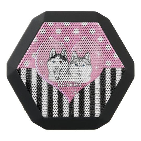 Cute Huskies pink pattern Black Bluetooth Speaker