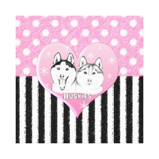 Cute Huskies pink pattern Canvas Print