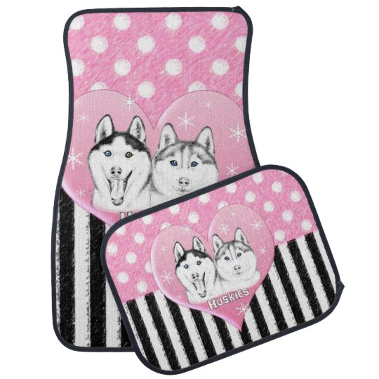Cute Huskies pink pattern Car Mat