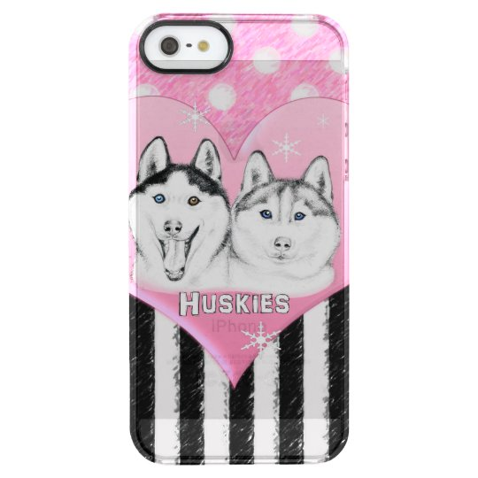 Cute Huskies pink pattern Clear iPhone SE/5/5s Case