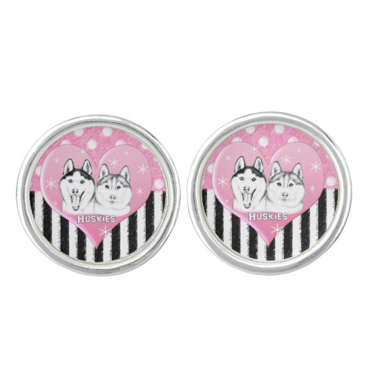 Cute Huskies pink pattern Cuff Links