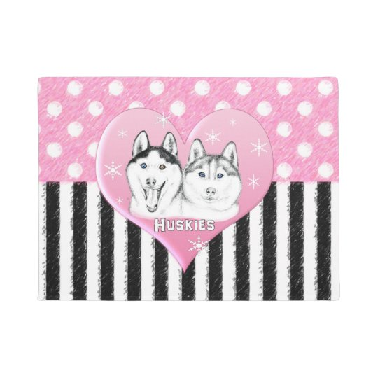Cute Huskies pink pattern Doormat