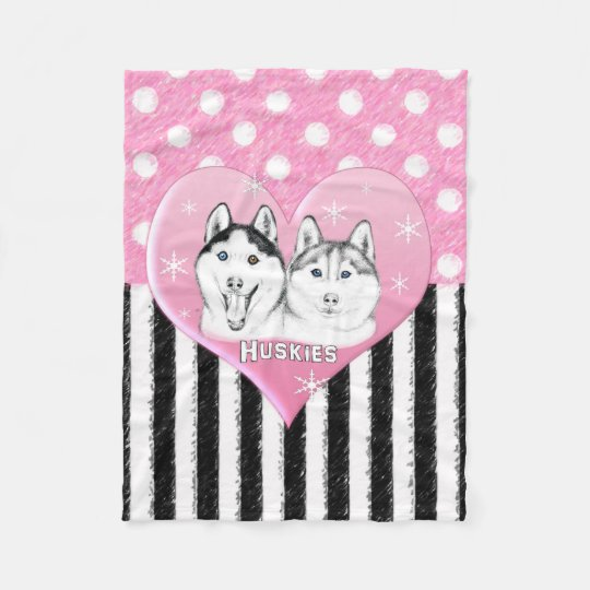 Cute Huskies pink pattern Fleece Blanket