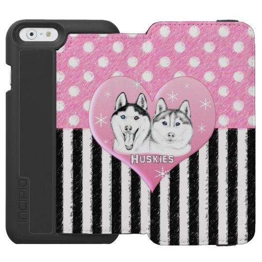 Cute Huskies pink pattern Incipio Watson™ iPhone 6 Wallet Case