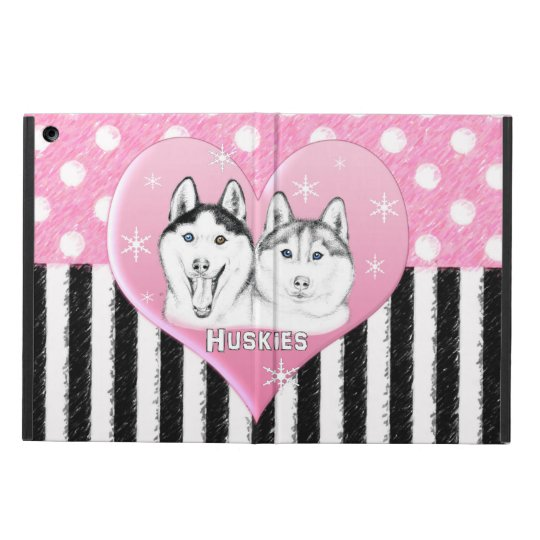 Cute Huskies pink pattern iPad Air Cover