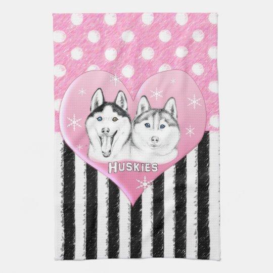 Cute Huskies pink pattern Kitchen Towel
