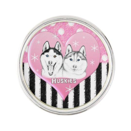 Cute Huskies pink pattern Lapel Pin