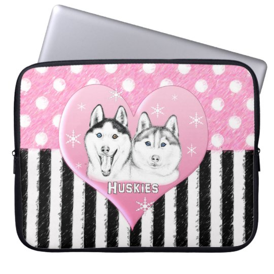Cute Huskies pink pattern Laptop Sleeve