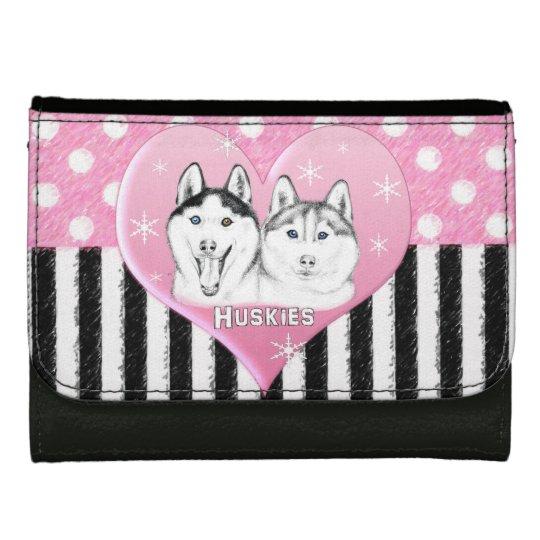 Cute Huskies pink pattern Leather Wallets