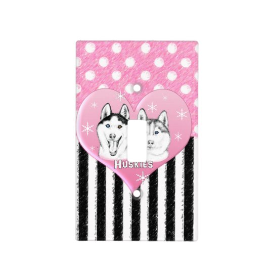 Cute Huskies pink pattern Light Switch Cover