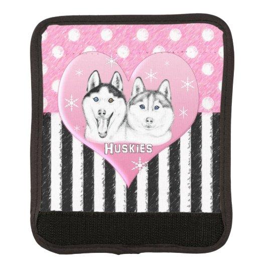 Cute Huskies pink pattern Luggage Handle Wrap