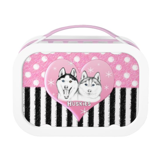 Cute Huskies pink pattern Lunch Box
