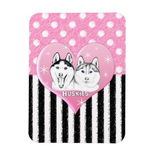 Cute Huskies pink pattern Magnet