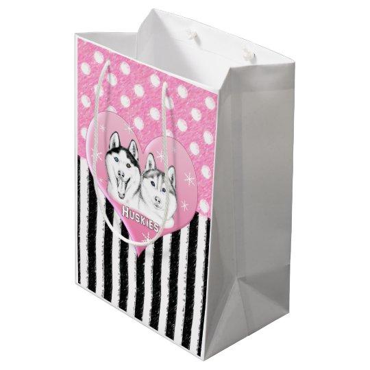 Cute Huskies pink pattern Medium Gift Bag
