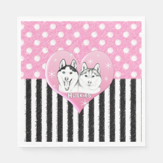 Cute Huskies pink pattern Napkin