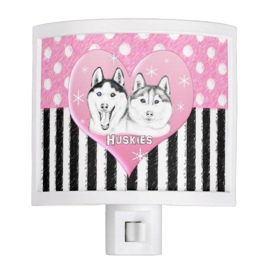 Cute Huskies pink pattern Night Lites