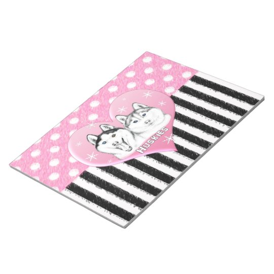 Cute Huskies pink pattern Notepad