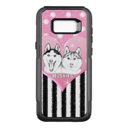 Cute Huskies pink pattern OtterBox Commuter Samsung Galaxy S8+ Case