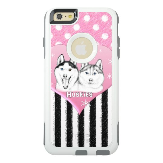 Cute Huskies pink pattern OtterBox iPhone 6/6s Plus Case