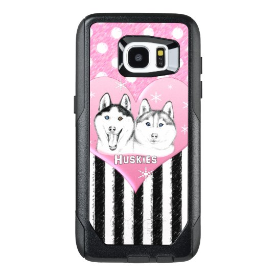 Cute Huskies pink pattern OtterBox Samsung Galaxy S7 Edge Case