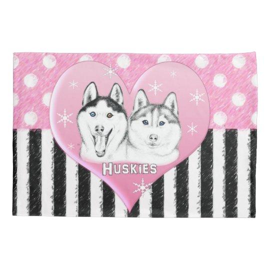 Cute Huskies pink pattern Pillowcase