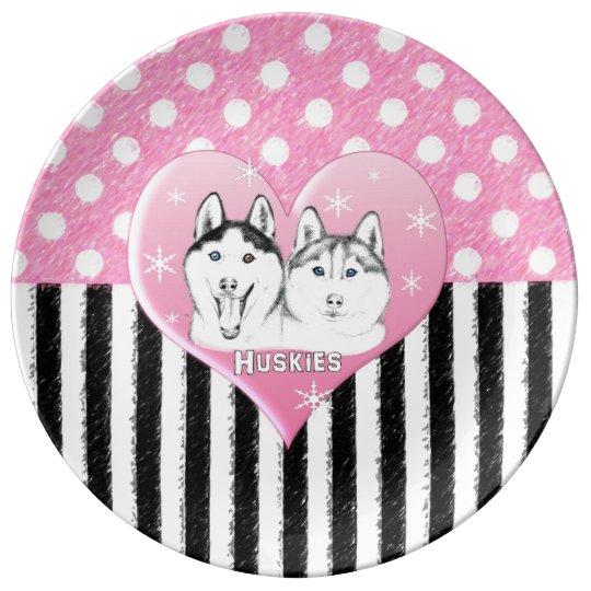 Cute Huskies pink pattern Plate