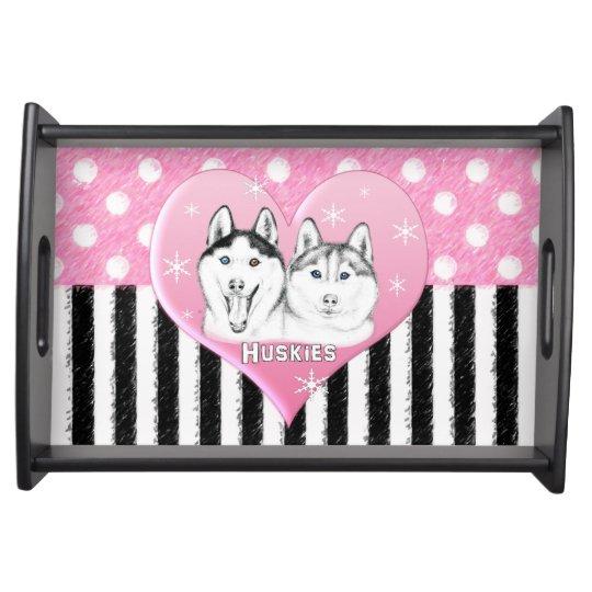Cute Huskies pink pattern Serving Tray
