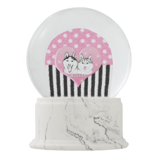 Cute Huskies pink pattern Snow Globe