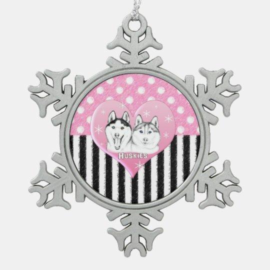 Cute Huskies pink pattern Snowflake Pewter Christmas Ornament