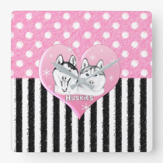 Cute Huskies pink pattern Square Wall Clock