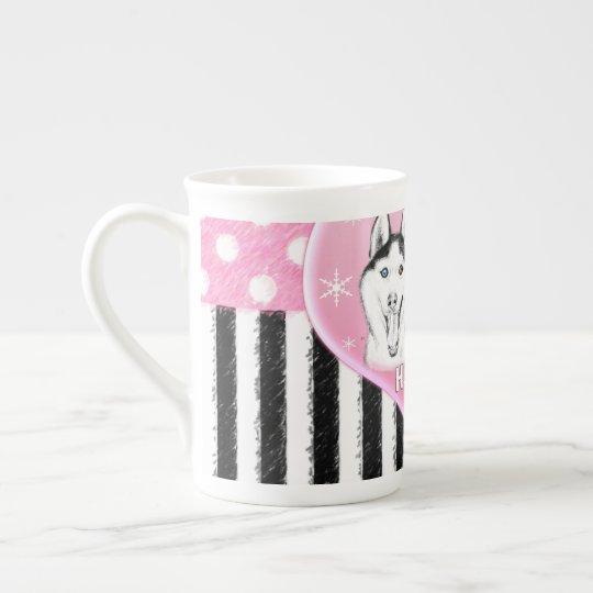 Cute Huskies pink pattern Tea Cup