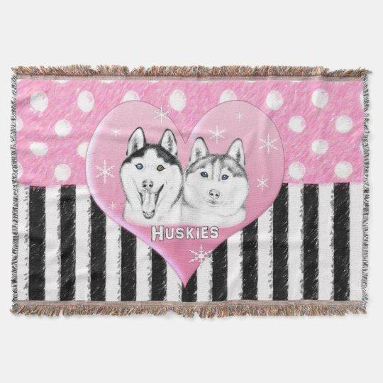 Cute Huskies pink pattern Throw Blanket