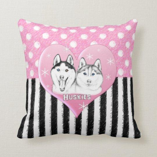 Cute Huskies pink pattern Throw Pillow