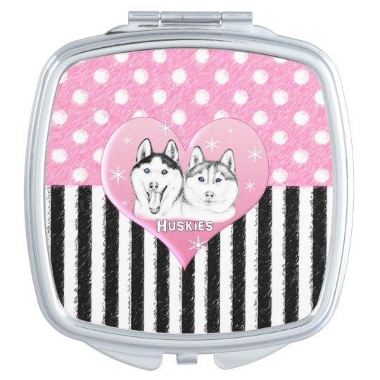 Cute Huskies pink pattern Travel Mirror