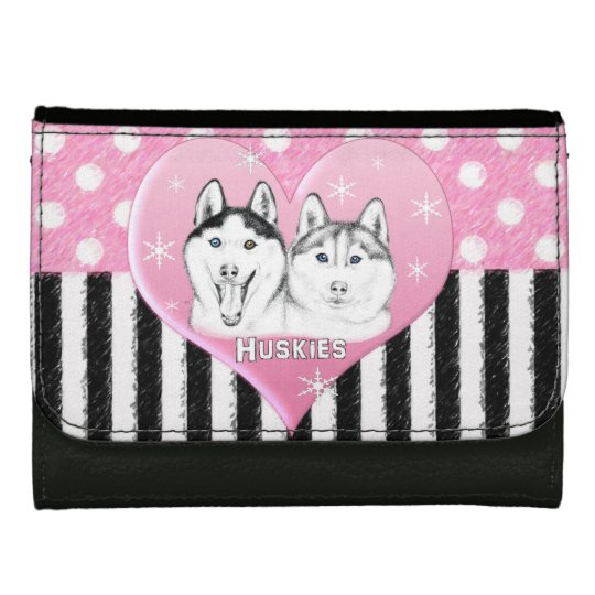 Cute Huskies pink pattern Wallet For Women