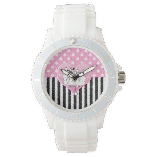 Cute Huskies pink pattern Watch