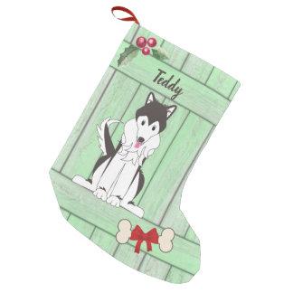 Cute Husky Boy Dog Green Wooden Fence Monogram Small Christmas Stocking