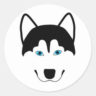 Cute Husky dog breed image Classic Round Sticker