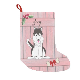 Cute Husky Girl Dog Pink Wooden Fence Monogram Small Christmas Stocking