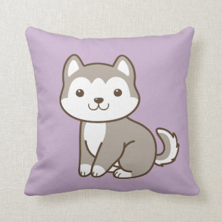 Cute Husky Puppy Dog Throw Pillow Purple