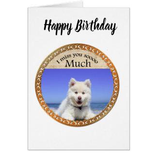 Cute Husky's with blue eye sitting on the beach Card