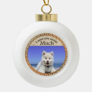 Cute Husky's with blue eye sitting on the beach Ceramic Ball Christmas Ornament