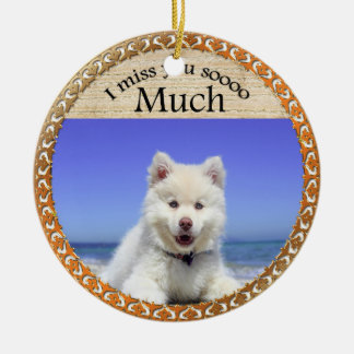 Cute Husky's with blue eye sitting on the beach Ceramic Ornament